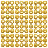 100 sport equipment icons set gold. 100 sport equipment icons set in gold circle isolated on white vector illustration Stock Image