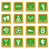 Sport equipment icons set green Stock Photography