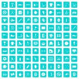 100 sport equipment icons set grunge blue. 100 sport equipment icons set in grunge style blue color isolated on white background vector illustration Stock Illustration