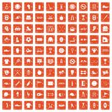 100 sport equipment icons set grunge orange. 100 sport equipment icons set in grunge style orange color isolated on white background vector illustration vector illustration