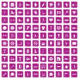 100 sport equipment icons set grunge pink. 100 sport equipment icons set in grunge style pink color isolated on white background vector illustration Royalty Free Stock Photography