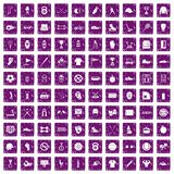 100 sport equipment icons set grunge purple. 100 sport equipment icons set in grunge style purple color isolated on white background vector illustration Royalty Free Stock Images