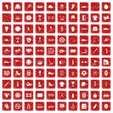 100 sport equipment icons set grunge red. 100 sport equipment icons set in grunge style red color isolated on white background vector illustration Royalty Free Stock Photo