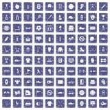100 sport equipment icons set grunge sapphire. 100 sport equipment icons set in grunge style sapphire color isolated on white background vector illustration Stock Image