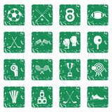Sport equipment icons set grunge Royalty Free Stock Image