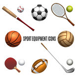 Sport equipment icons set Stock Photo