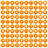100 sport equipment icons set orange. 100 sport equipment icons set in orange circle isolated on white vector illustration vector illustration