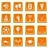Sport equipment icons set orange Royalty Free Stock Image