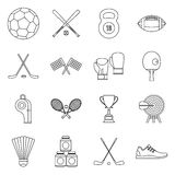 Sport equipment icons set, outline style Stock Image
