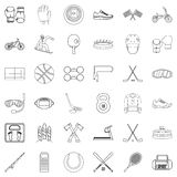 Sport equipment icons set, outline style Stock Photos