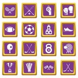 Sport equipment icons set purple Royalty Free Stock Images
