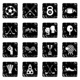 Sport equipment icons set, simple style Royalty Free Stock Photography