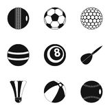 Sport equipment icons set, simple style Royalty Free Stock Photo