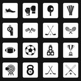 Sport equipment icons set squares vector Stock Photography