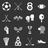 Sport equipment icons set grey vector. Sport equipment icons set vector white isolated on grey background Stock Photo