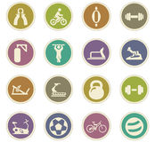 Sport equipment icons set Stock Images