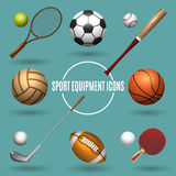 Sport equipment icons. Sports elements vector illustration Royalty Free Stock Images