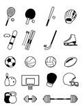 Sport Equipment Icons  on White Stock Photos