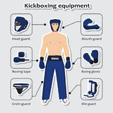 Sport equipment for kickboxing martial arts Stock Images