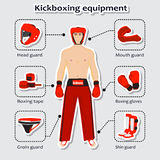Sport equipment for kickboxing martial arts with sportsman Royalty Free Stock Images