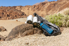 Sport equipment on mountain background. Volcan Teide Stock Photo