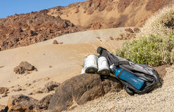 Sport equipment on mountain background. Volcan Teide Royalty Free Stock Photo
