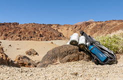 Sport equipment on mountain background. Volcan Teide Royalty Free Stock Photos