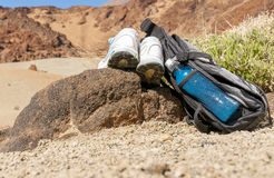 Sport equipment on mountain background. Volcan Teide Stock Photos
