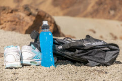 Sport equipment on mountain background. Volcan Teide Royalty Free Stock Photography