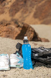 Sport equipment on mountain background. Volcan Teide Stock Photography