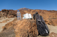 Sport equipment on mountain background. Volcan Teide Royalty Free Stock Images
