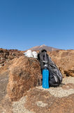 Sport equipment on mountain background. Volcan Teide Stock Images
