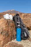 Sport equipment on mountain background. Volcan Teide Royalty Free Stock Image