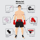 Sport equipment for muay tai martial arts Royalty Free Stock Photos