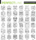 Sport equipment outline mini concept symbols. Modern stroke linear style illustrations set. Perfect thin line icons. Stock Images
