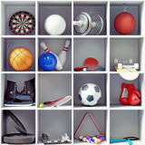 Sport equipment. On the shelves. creative concept stock illustration