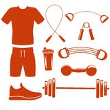 Sport equipment silhouette template Stock Photo