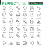 Sport equipment thin line web icons set. Outline stroke icons design.