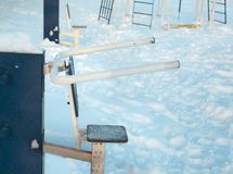Sport equipment in a winter park. Various sport equipment for physical activity outdoor, winter scene stock photos