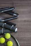 Sport equipment on the wooden background. Sport equipment on the brown wooden background Stock Image
