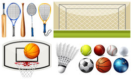 Sport equipments and different goals Royalty Free Stock Photos
