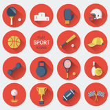 Sport equipments.Flat icons. Set of sport icons.Vector modern flat design Royalty Free Stock Photography