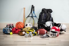 Sport Equipments On Floor Stock Photo