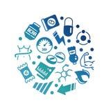 Sport ergänzt rundes Konzept der Energie-, Protein- und Vitaminikonen lizenzfreie abbildung