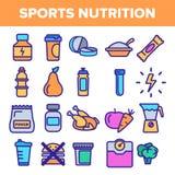 Sport-Erg?nzungs-Nahrungsmittellinie Ikonen-Satz-Vektor Nahrungs-Piktogramm Gesundheits-Sport-Erg?nzungs-Nahrungsmittelsymbol Ene vektor abbildung