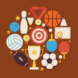 Sport-Erholungs-und Wettbewerbs-Vektor-flacher Design-Kreis geformt Lizenzfreies Stockfoto