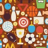 Sport-Erholungs-und Wettbewerbs-Vektor-flaches Design nahtloses Pat Stockfoto