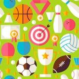 Sport-Erholungs-Wettbewerbs-Vektor-flaches Design-Grün nahtloses P Lizenzfreie Stockbilder
