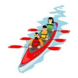 Sport estremi dell'acqua di canoa, elemento isolato per il concetto di attività di vacanze estive, onda che pratica il surfing, m Fotografia Stock