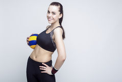 Sport et concepts et idées de forme physique Joueur de volleyball féminin professionnel Photographie stock